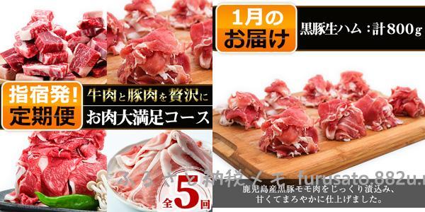 指宿市のお肉定期便 1月のお届け「黒豚生ハム800グラム」」
