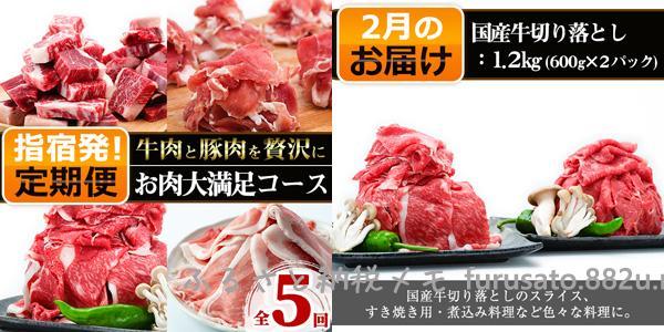 鹿児島県指宿市「黒豚・国産牛肉・和牛のお肉の大満足コース!」2回目・国産牛切り落とし